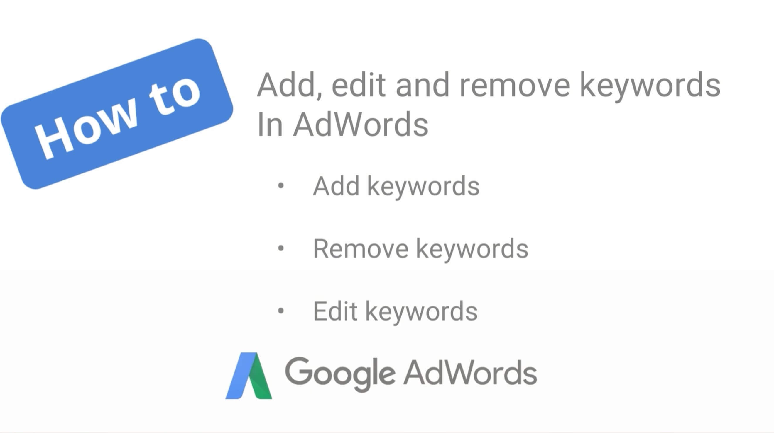 How to add, edit, and remove keywords in AdWords