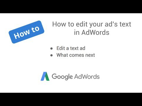 How to edit your text ad in AdWords