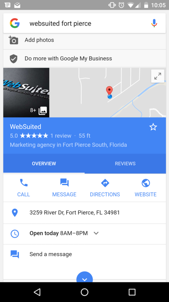 google my business messaging chat