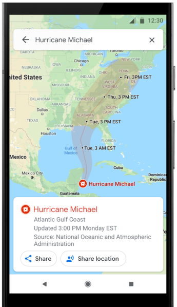Hurricane Alerts Added to Google Maps